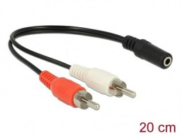 KABEL AUDIO 2X RCA (CHINCH)(M)->MINIJACK 3.5MM(F) 0.2M DELOCK