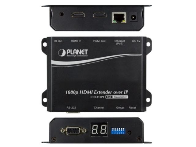 TRANSMITER PLANET IHD-210PT HDMI EXTENDER OVER IP 1PORT POE 100BASE-TX