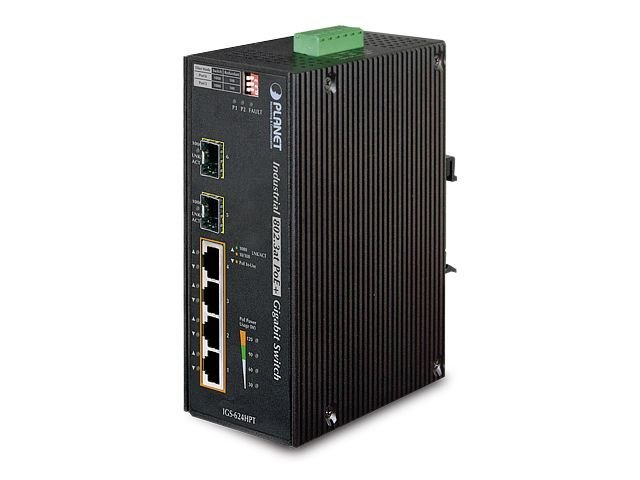 SWITCH PLANET IGS-624HPT 4X 1GB BASE-T POE/2X 1GB BASE-X SFP PRZEMYSŁOWY GIGABIT ETHERNET DIN RAIL