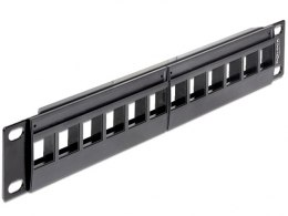 "PATCH PANEL 12 PORT 1U DO MODUŁÓW 10"" KEYSTONE BLACK DELOCK"