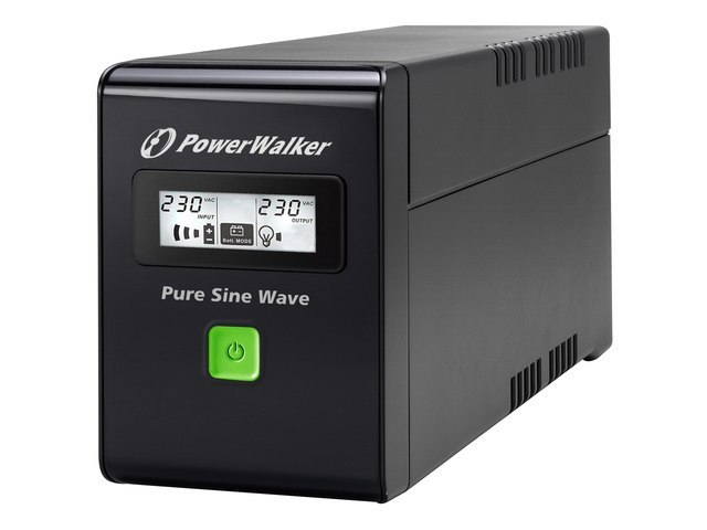 UPS POWERWALKER LINE-INTERACTIVE 600VA 2X PL 230V, PURE SINE WAVE, RJ11/45 IN/OUT, USB, LCD