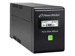 UPS POWERWALKER LINE-INTERACTIVE 800VA 2X PL 230V, PURE SINE WAVE, RJ11/45 IN/OUT, USB, LCD